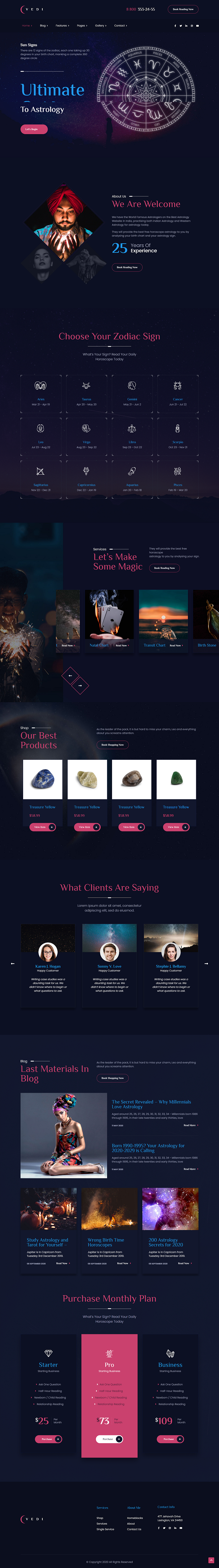 Vedi - Astrology and Esoteric SinglePage and MultePage Joomla Template - 2